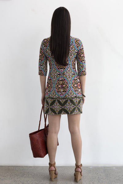 Mini Shift Dress- Mosaic Print