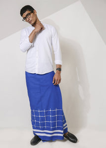 Blue Sarong with White Line Art