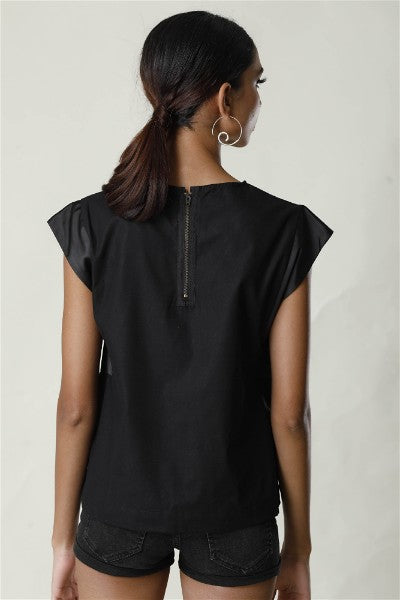 Embroided Cap Sleeve Top - Black