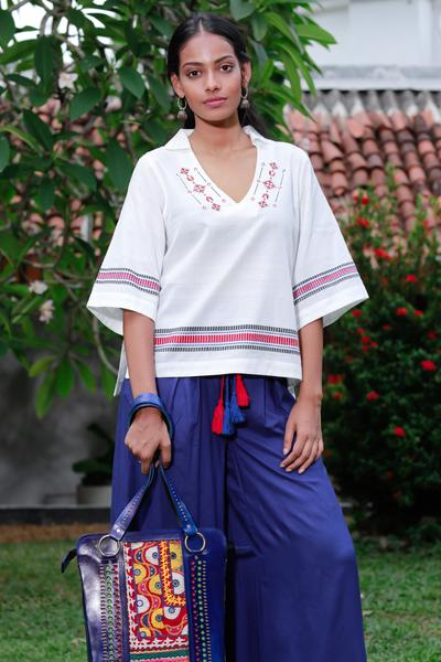Embroidered Boho Top - White - Fashion Market.LK