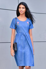 Embroidered Chambray Midi Dress