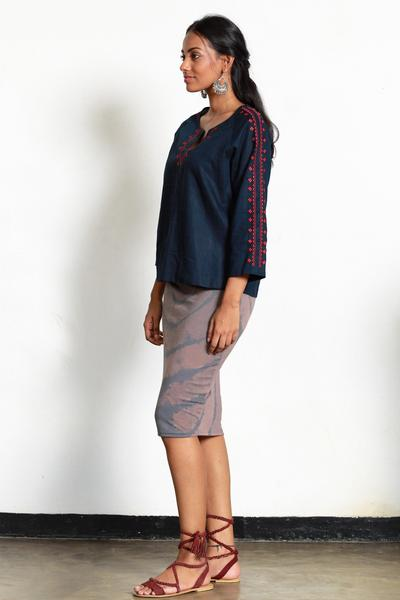 Embroidered Navy Blue Top - Fashion Market.LK