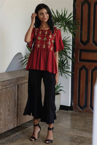 Embroidered Peplum Blouse with Front Placket