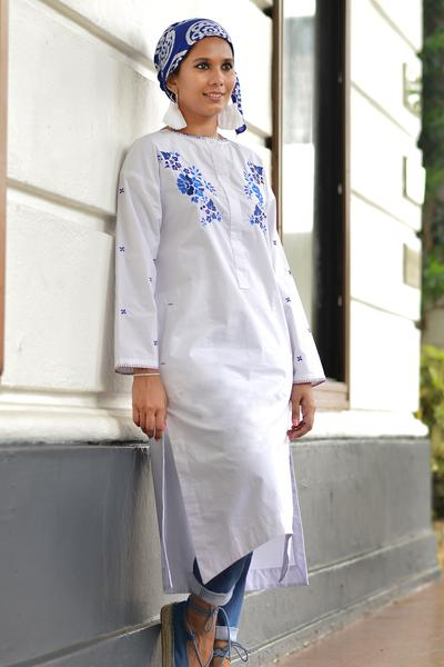 Embroidered white shirt dress