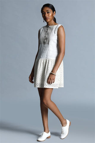 Eyelet Lace Jacquard Trimmed Mini Dress