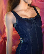 Load image into Gallery viewer, Denim Chambray Corset Mini Dress