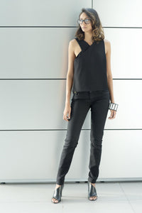 Asymmetric Sleeveless Blouse - Black - FMLK