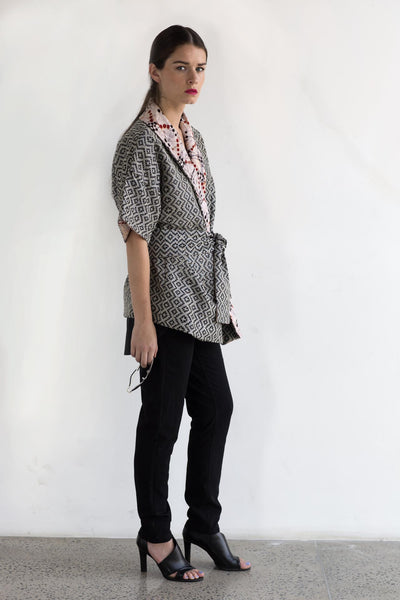 Handwoven Kimono Jacket with Batik - Fashion Market.LK