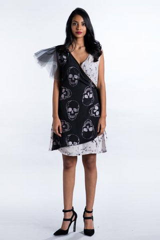Foil Skull Printed Black Wrap Dress