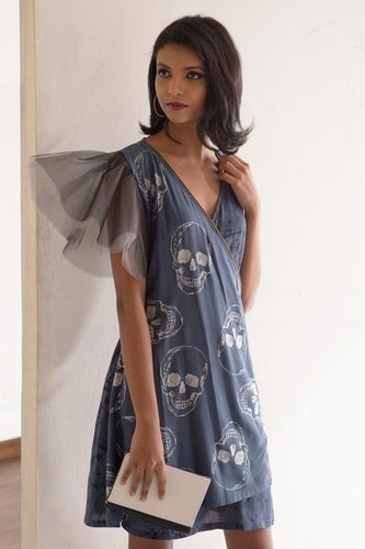 Foil Skull Printed Gray Wrap Dress - Fashion Market.LK
