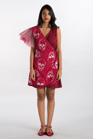 Foil Skull Printed Maroon Wrap Dress