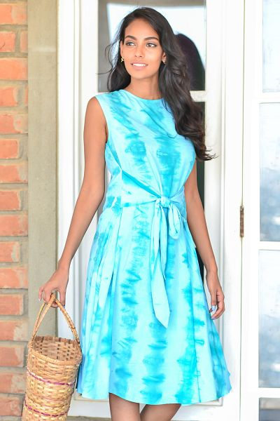 Front Tie Up Tie Dye Dress - Fashion Market.LK