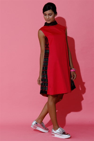 Fuchsia Hand Woven Mini Dress