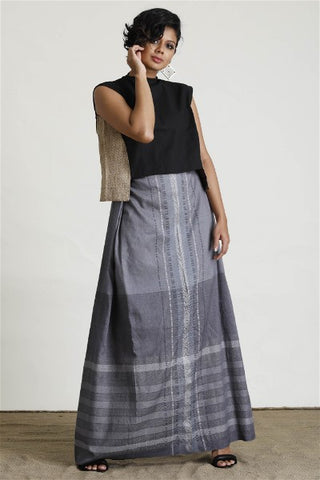 Hand woven Silver Contrast Textured Sarong