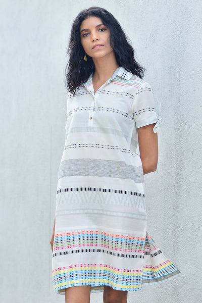 Handwoven shirt dress with sleeve ties - Fashion Market.LK