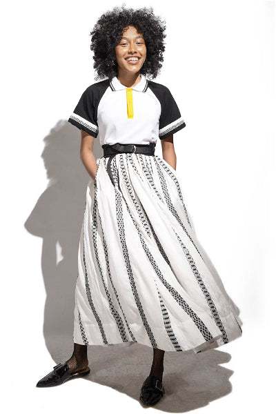 Handwoven Volumnuous Skirt- Contrast Belt-black