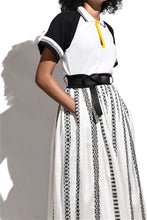 Load image into Gallery viewer, Handwoven Volumnuous Skirt- Contrast Belt-black