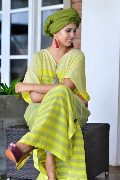Handwoven Yellow Kaftan - Fashion Market.LK