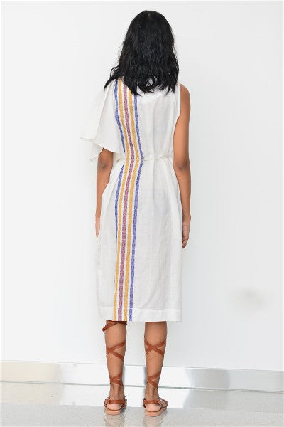 Handwoven fluid midi dress with belt