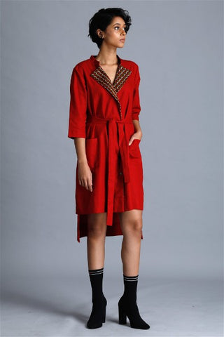 High Low Contrast Handwoven dress