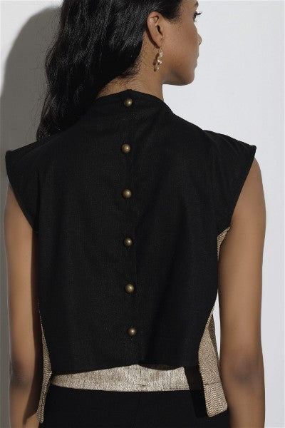 High Neck Black Linen Cropped Top