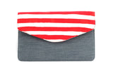 Up-Cycled Clutch- Red Stripe