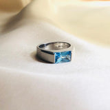 Blue Topaz Ring(Matte Finished Silver) LS001TCS001