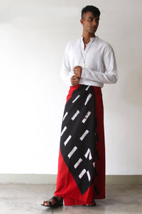 Red Black & White Splash Batik Sarong
