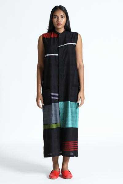 Long tunic dress with mandarin collar and a concealed placket - Fashion Market.LK