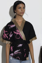 Load image into Gallery viewer, Cattleya Batik Artisan Linen Black Kimono