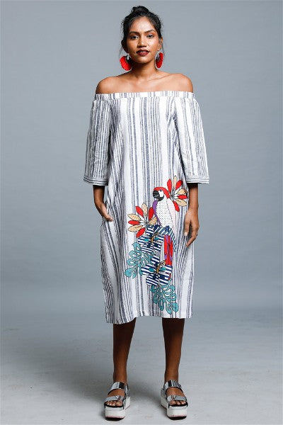 Maccor Stripped Off Shoulder Dress