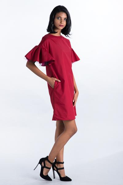 Maroon Shift dress with Tulle sleeve - Fashion Market.LK