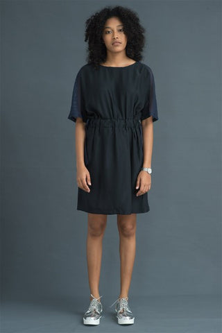 Mesh Panel silk Tie- Up Dress