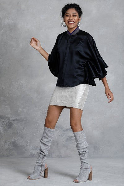 Monochromic Silk  Poncho Top