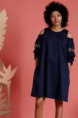 Navajo Blu -Embroidered Cold shoulder dress