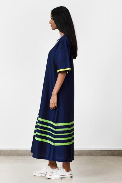 Navy Handwoven Long Tunic Dress - Fashion Market.LK