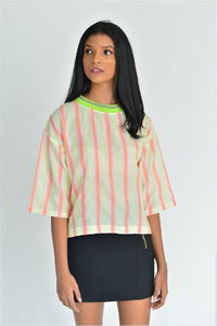 Neon Strip Crop Top