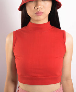Sleeveless Red Cotton Turtleneck Crop top