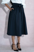 Load image into Gallery viewer, Black Belle Midi Skirt