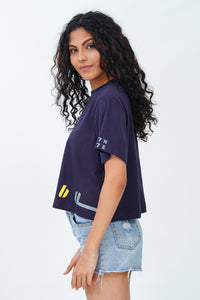 "Navy Blue ""Colombo"" Crop T-Shirt"