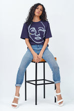 Load image into Gallery viewer, Tribal Face Crew Neck  T-Shirt - Navy Blue