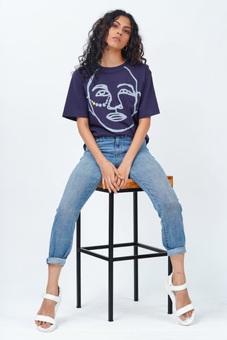Tribal Face Crew Neck  T-Shirt - Navy Blue