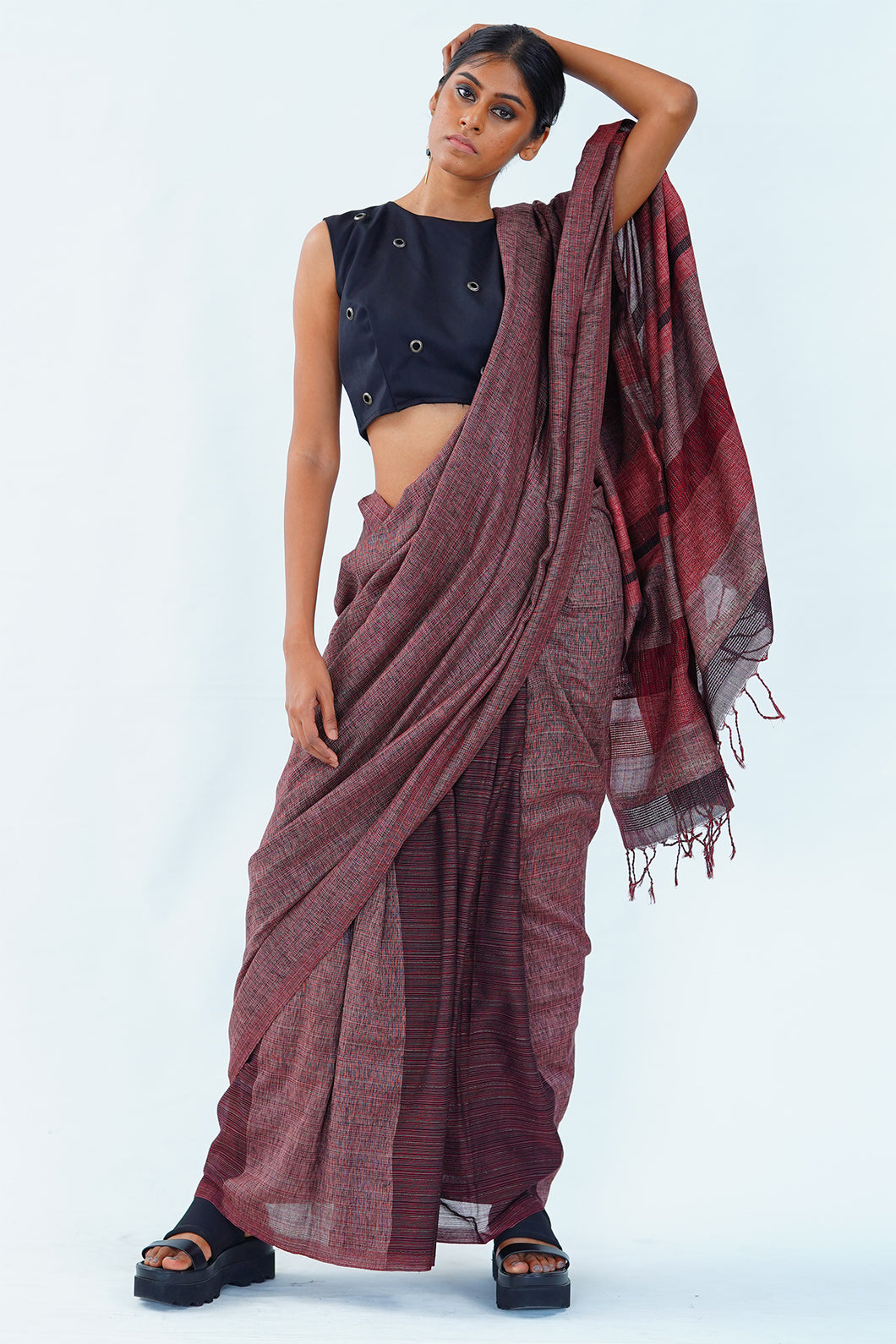 Urban Drape Dark Rose saree