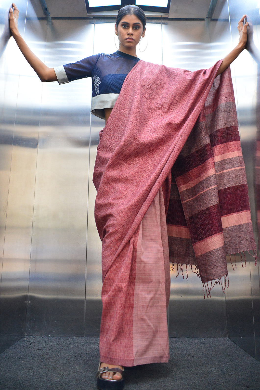 Urban Drape Rusty Cage saree
