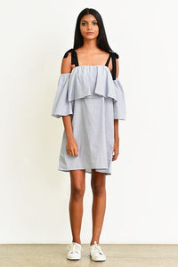 Off-Shoulder Dress -Stripe - Fashion Market.LK