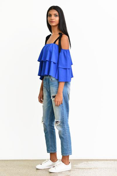 Off-Shoulder Top - Blue - Fashion Market.LK