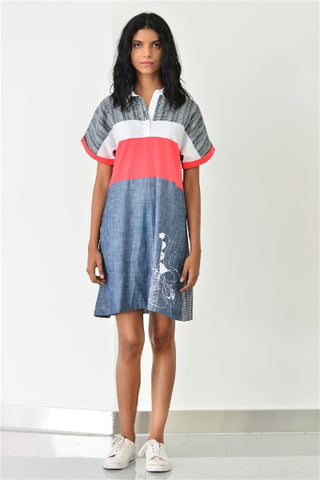 Patched Shirt Dress