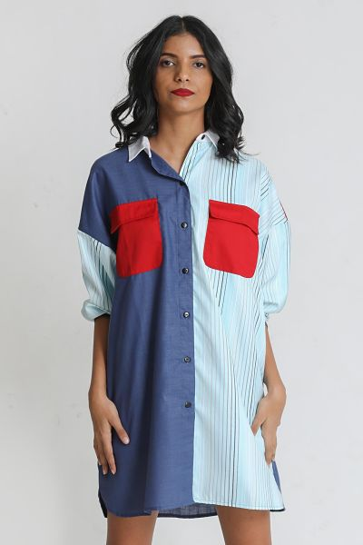 Patched shirt dress - Fashion Market.LK