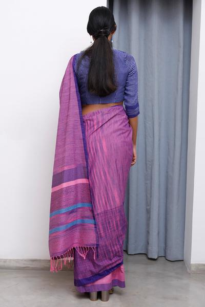 Urban Drape Pink Shadow Clouds -Tie Dye Hand Woven Saree