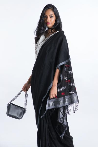Urban Drape Poppy Black Saree - Fashion Market.LK